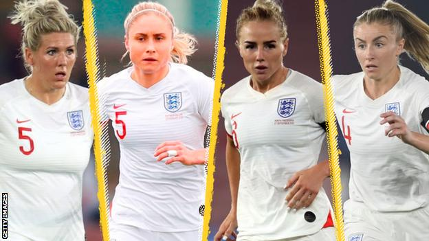 Millie Bright, Steph Houghton, Alex Greenwood and Leah Williamson