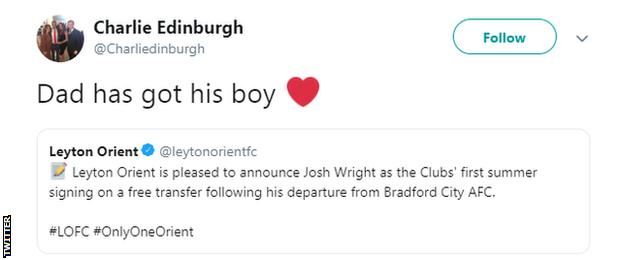 Justin Edinburgh's son, Charlie, on Twitter