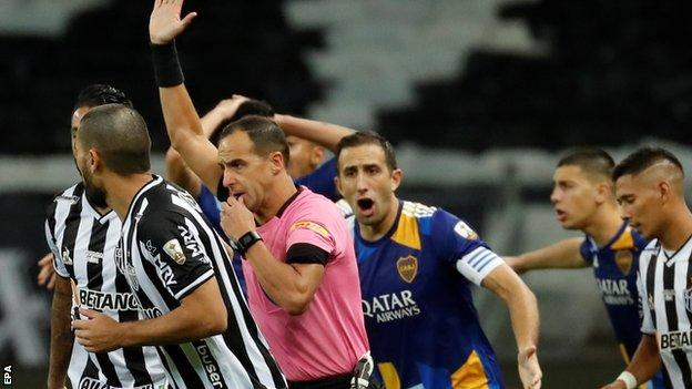 Boca have a goal ruled out by VAR in the second leg against Atletico Mineiro