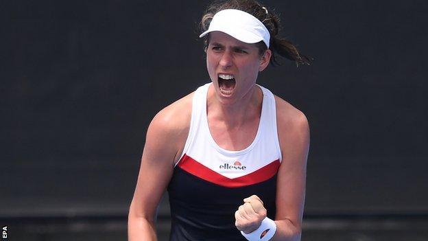 Johanna Konta celebrates during her Australian Open win over Ajla Tomljanovic
