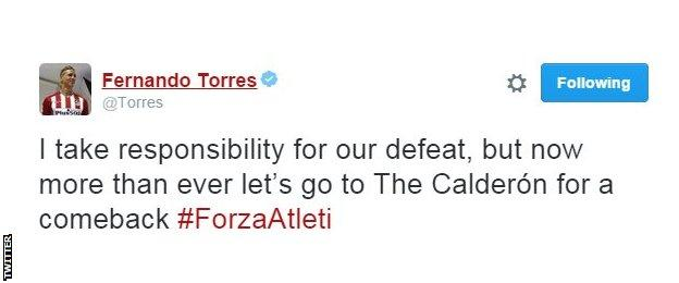 Fernando Torres takes responsibility for Atletico's defeat at Barcelona