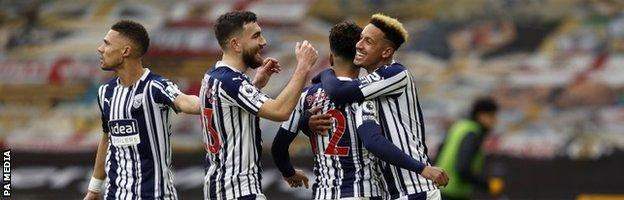 West Brom celebrate Matheus Pereira's winning goal