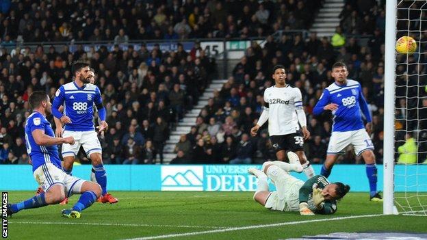 Derby score a second goal against Birmingham