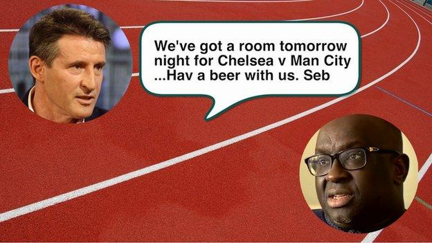 Text message sent by Lord Coe to Papa Massata Diack on 15 August, 2015