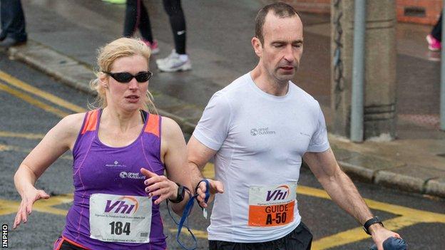 Sinead Kane in action with then guide John O'Regan in the Dublin Women's Mini Marathon in 2016