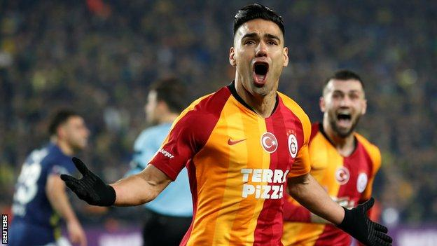 Radamel Falcao celebrates scoring at Fenerbahce