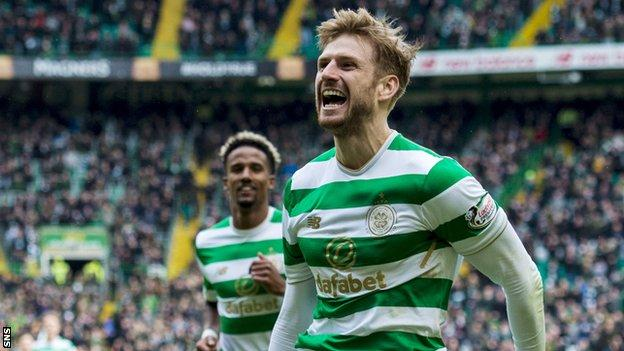 Stuart Armstrong celebrates a goal for Celtic
