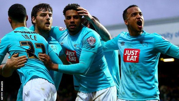 Derby County players celebrate