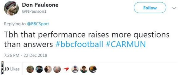 Tweet from Don Pauleono saying 'That performance raises more questions than answers'