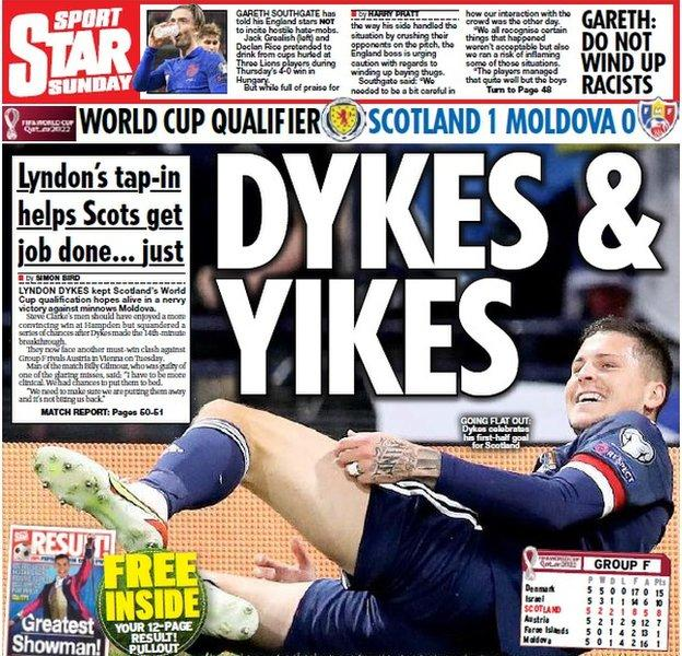 Contraportada del Scottish Star el domingo 050921