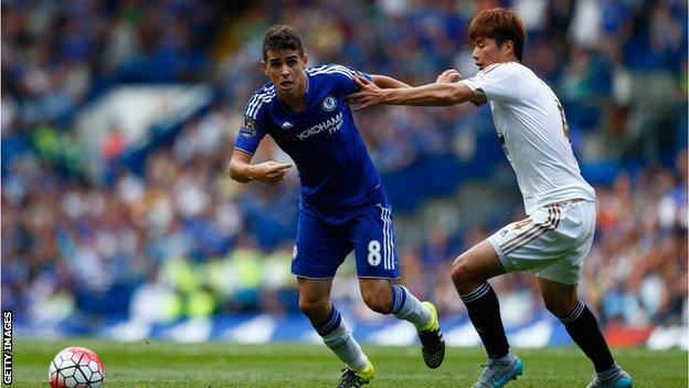 Swansea's Ki Sung-yueng battles with Oscar during the draw at Chelsea