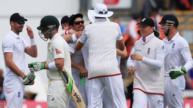 Brad Haddin walks off as England celebrate