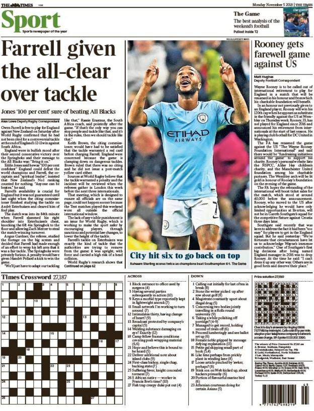 Times back page on Monday