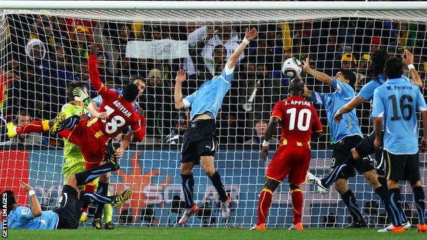 Luis Suarez's last-minute handball on the line was eventually rewarded as Ghana missed the resulting spot kick and lost on penalties in the 2010 World Cup quarter-finals