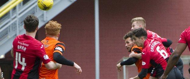 Tony Andreu (partially hidden) heads home Dundee United's first goal