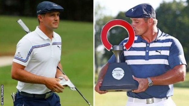 DeChambeau on the left in August 2019 and on the right winning the Rocket Mortgage Classic in July, his sixth PGA Tour title