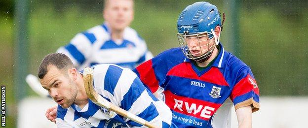 Calum Grant playing for Kingussie against Newtonmore