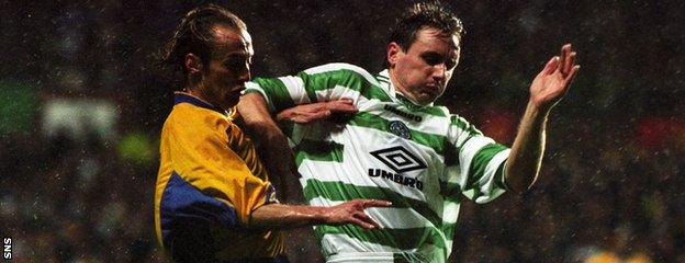 Tom Boyd in European action for Celtic against FC Zurich in 1998