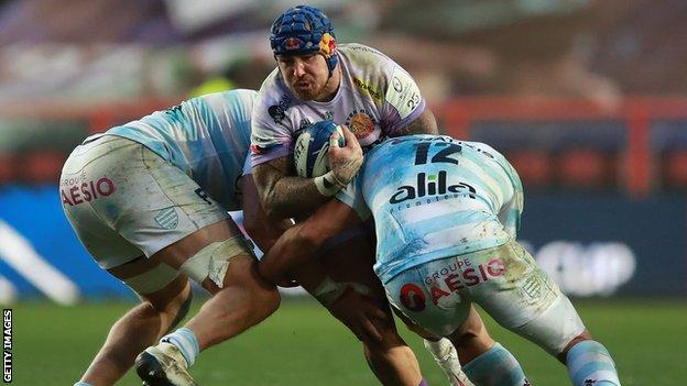 Exeter's Jack Nowell is tackled