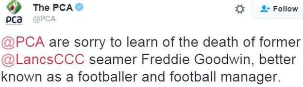 Professional Cricketers' Association tweet