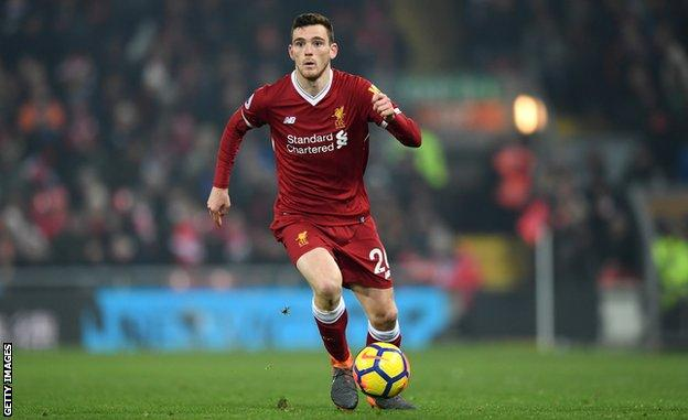 Liverpool defender Andrew Robertson