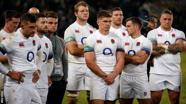 England's players after South Africa defeat