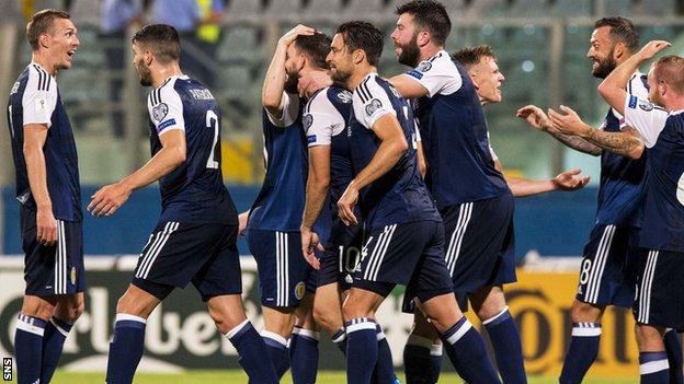 Scotland players celebrate against Malta