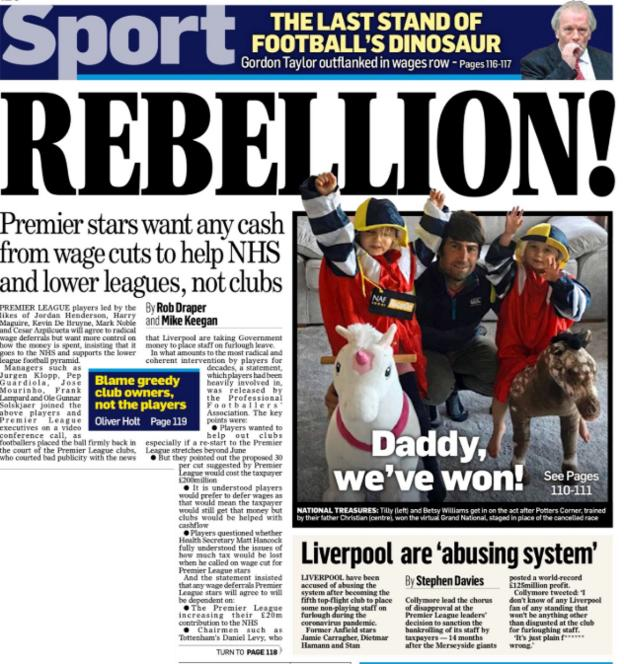 The Mail on Sunday references the ongoing debate on Premier League wages