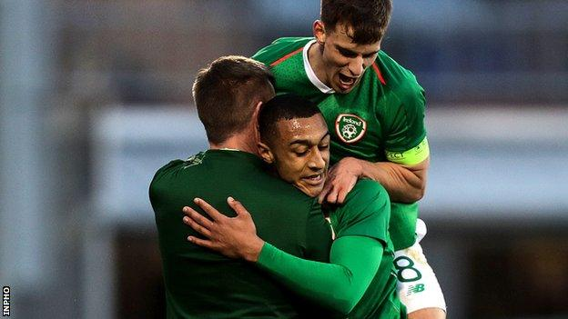 Adam Idah (middle) scored twice in Stephen Kenny's first competitive game in charge of the Republic of Ireland Under 21s