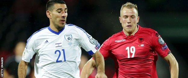 Albanias Bekim Bala (right) and Israeli's Eitan Tibi during the World Cup 2018 qualifier football match Albania versus Israel