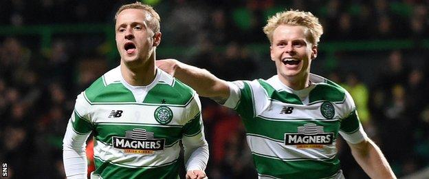 Celtic players Leigh Griffiths and Gary Mackay-Steven