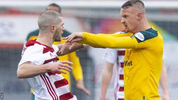 Alex Gogic and Leigh Griffiths clashed after the Celtic striker's tangle with Sam Woods