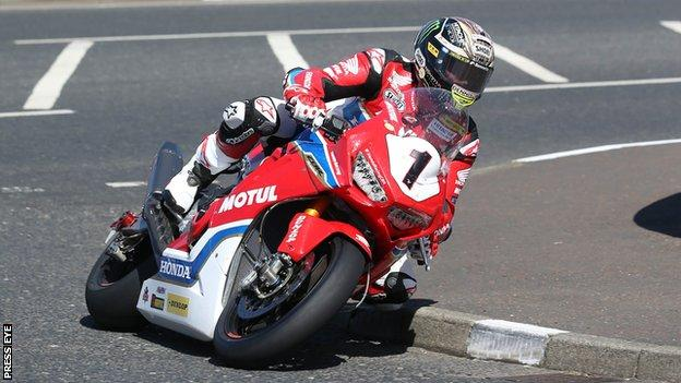 John McGuinness in action on his Honda superbike in Tuesday's practice session at the North West 200