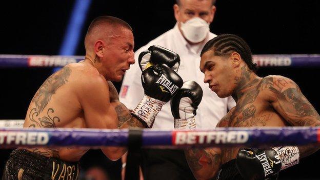 Conor Benn punches Samuel Vargas