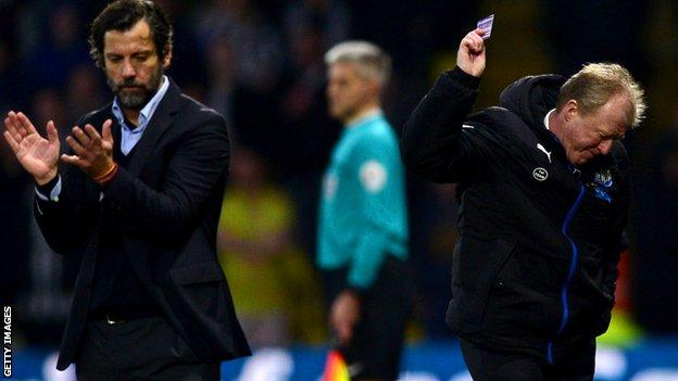 Watford boss Quique Sanchez Flores and Newcastle head coach Steve McClaren