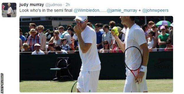 Judy Murray's tweet about Jamie Murray's doubles win