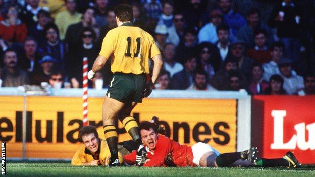 David Campese could only watch as Ieuan Evans pounced to score the winning try for the Lions in 1989
