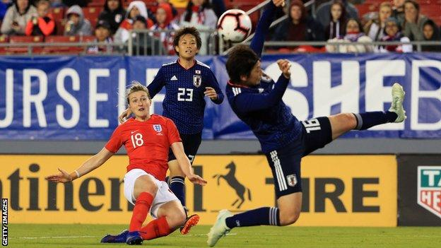 Ellen White of England shoots past Arisa Matsubara of Japan, but misses a chance during the 2019 SheBelieves Cup match between England and Japan at Raymond James Stadium on March 05, 2019 in Tampa, Florida