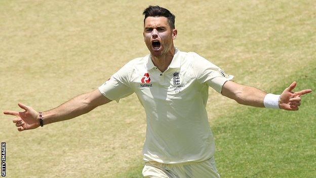 James Anderson celebrates taking a wicket during the first Ashes Test at Brisbane