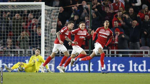 Djed Spence celebrates scoring for Middlesbrough against Huddersfield