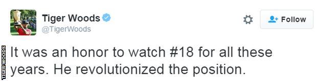 Tiger Woods tweet about Peyton Manning
