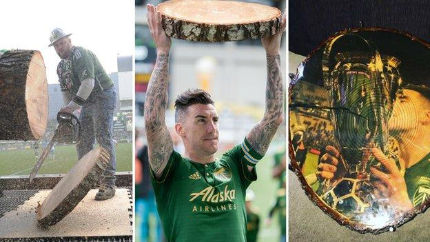 Timber Joey, Ridgewell and his wood and his custom made table celebrating his MLS Cup win in 2015