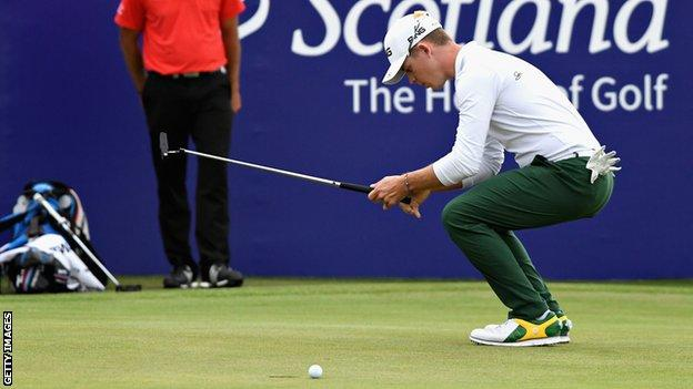 Brandon Stone reacts after missing a birdie on the 18th