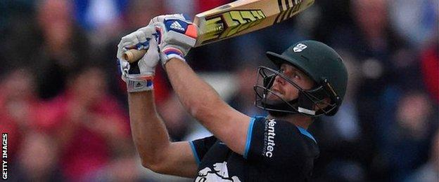 Ross Whiteley hits a six for Worcestershire
