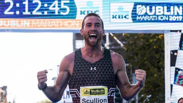 Stephen Scullion celebrates after his second place at last year's Dublin Marathon