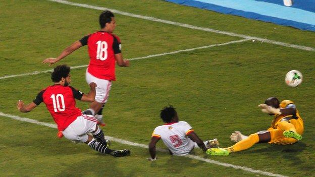 Mo Salah scored the only goal of the game after six minutes against Uganda