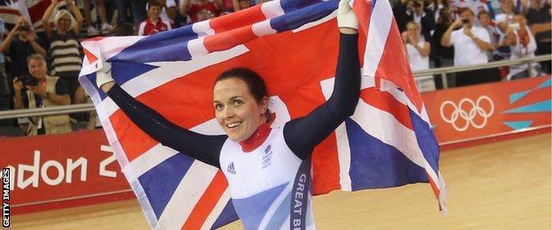 Victoria Pendleton celebrates winning Olympic gold at London 2012.