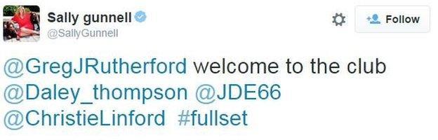 Linford Christie tweet congratulating Greg Rutherford