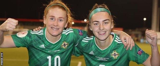 McCarron (right) scored her first Northern Ireland goal against the Faroe Islands in December