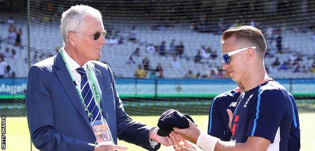 Tom Curran was awarded his England cap by former bowler Bob Willis